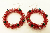 Wirework Christmas Wreath Earrings Pattern